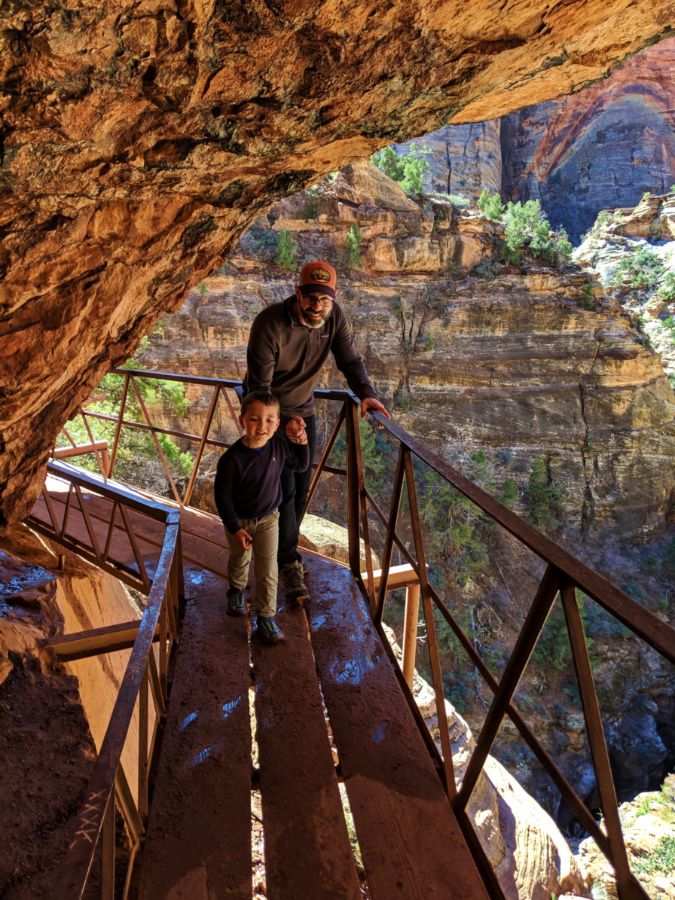 Taylor Family hiking Canyon Overlook Trail Zion National Park Utah 10
