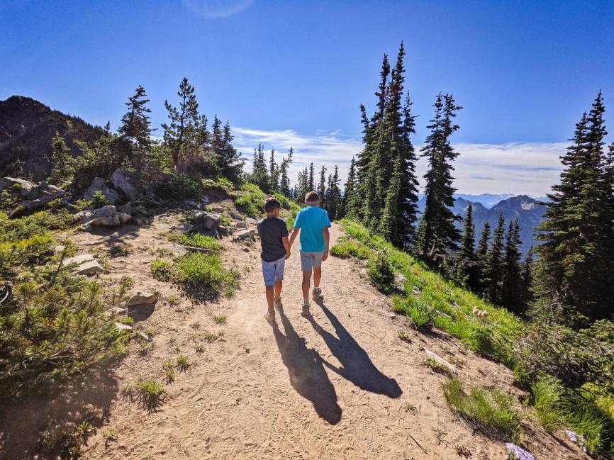 Taylor Family hiking Dege Peak Trail at Sunrise Mount Rainier National Park Washington 1