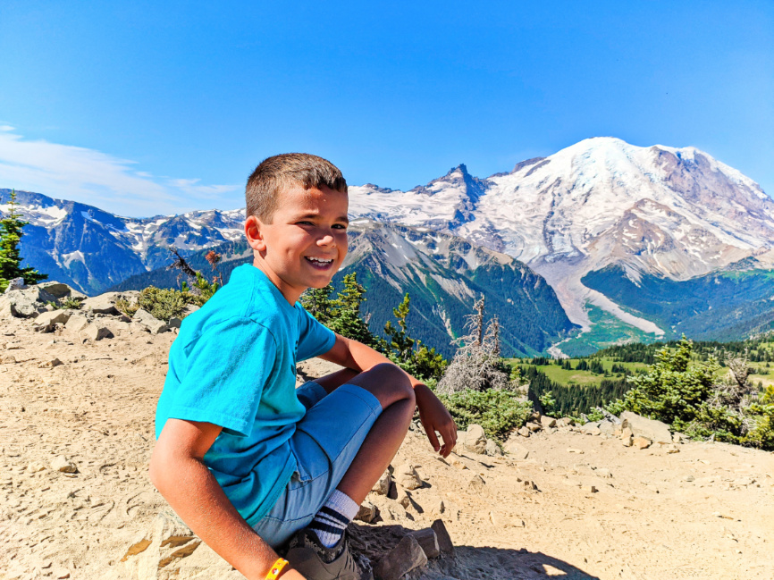 Taylor Family hiking Dege Peak Trail at Sunrise Mount Rainier National Park Washington 8