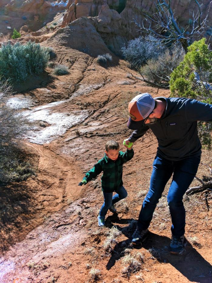 Taylor Family hiking Grand Staircase Escalatnte Kodachrome Basin State Park Utah 1