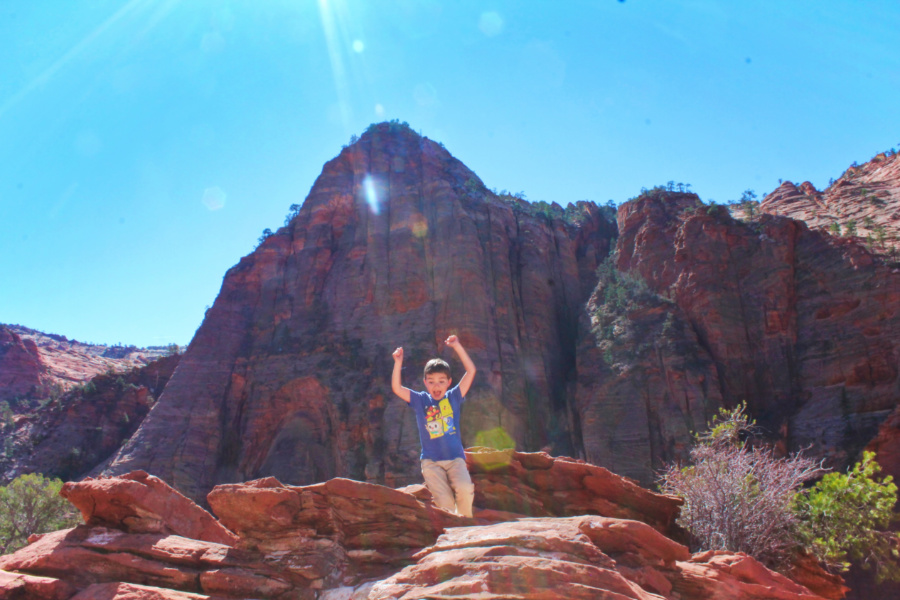 Taylor Family hiking at Canyon Overlook trail Zion National Park Utah 3