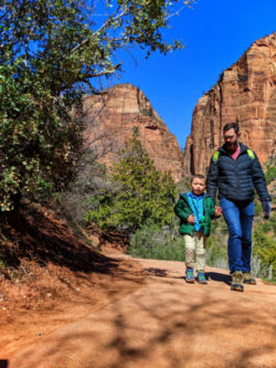 Taylor Family hiking at Lower Emerald Pools Zion National Park Utah 3