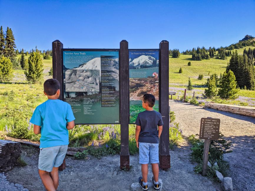 Taylor Family hiking at Sunrise Mount Rainier National Park Washington 2