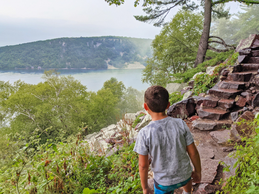 Taylor Family hiking on Cloudy Day at Devils Rock State Park Baraboo Wisconsin 1