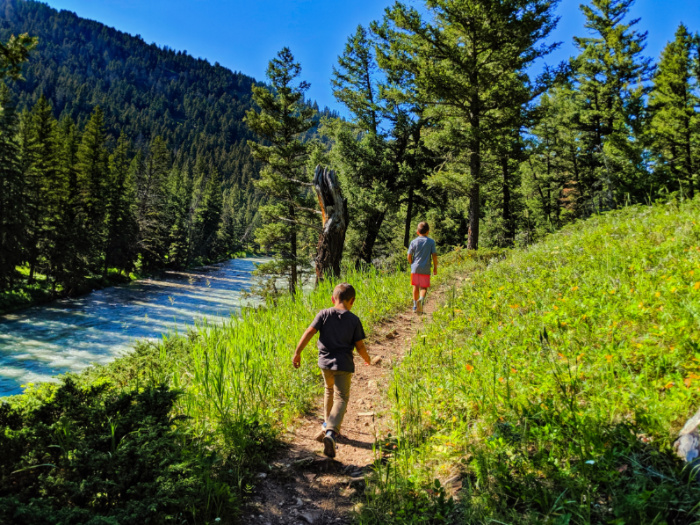 Taylor Family hiking on the Gallatin River in Big Sky Montana 1