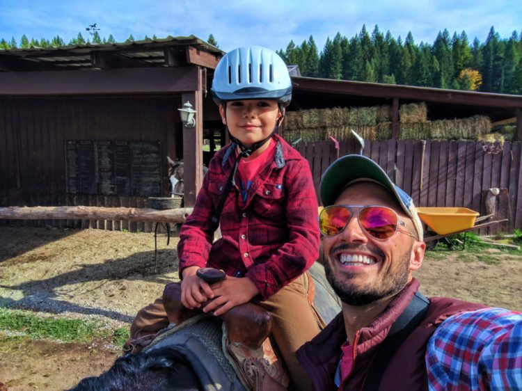 Taylor Family horseback riding at Bar W Guest Ranch Whitefish Glacier County 13