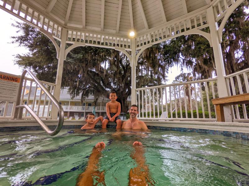 Taylor Family in Hot Tub Gazebo at Best Western Plus St Simons Island Golden Isles Georgia 3