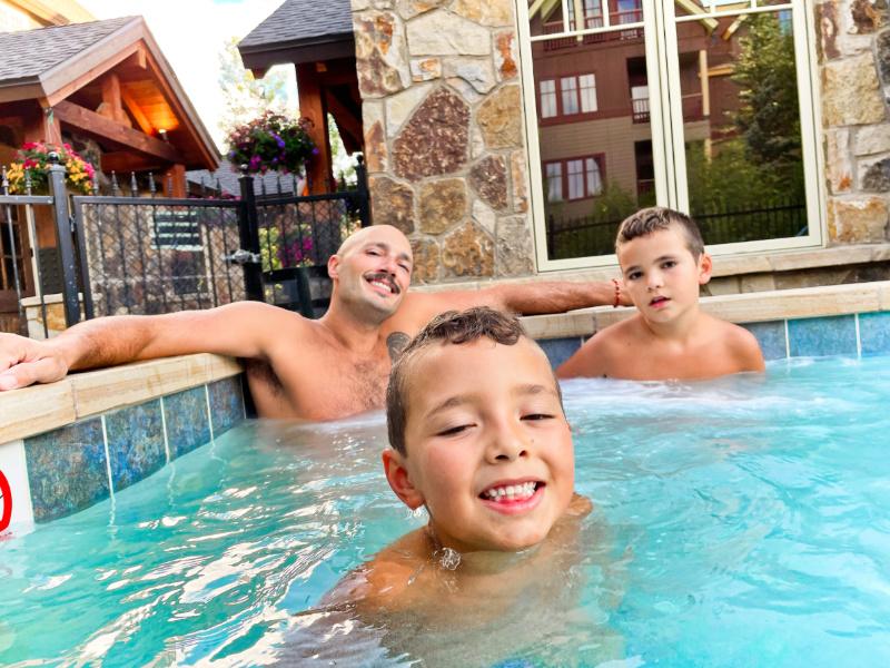 Taylor Family in Hot Tub at Water House Vacasa Breckenridge Colorado 1