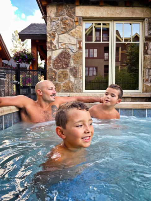 Taylor Family in Hot Tub at Water House Vacasa Breckenridge Colorado 2
