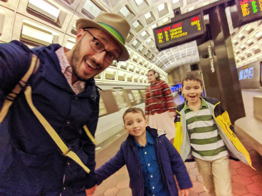 Taylor Family in Metro Subway tube Washington DC 2