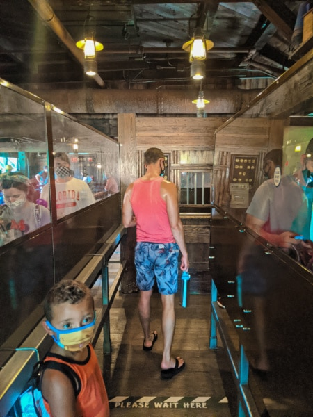 Taylor Family in Queue with Plexiglass at Thunder Mountain Magic Kingdom Disney World 2020 1