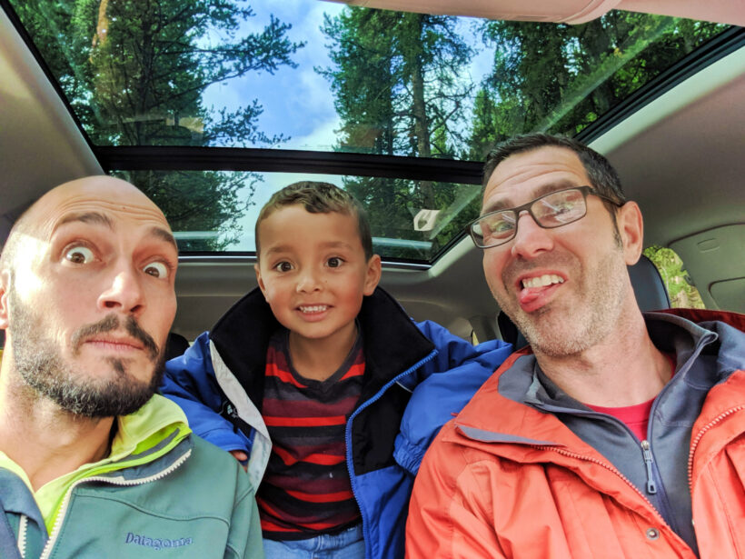 Taylor Family in car on road trip through Yellowstone NP 1