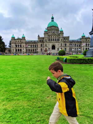 Taylor Family in front of British Columbia Parliament rotunda Victoria BC 1