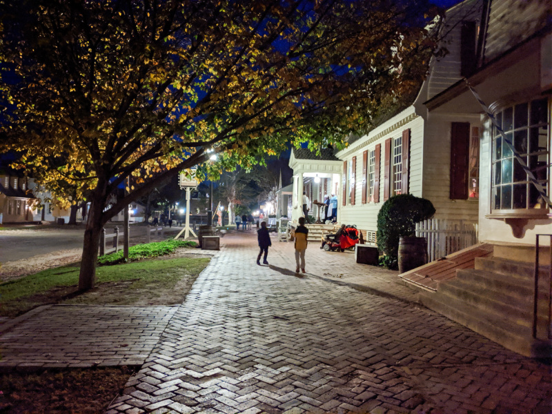 Taylor Family in historic district at Night Colonial Williamsburg Virginia 4