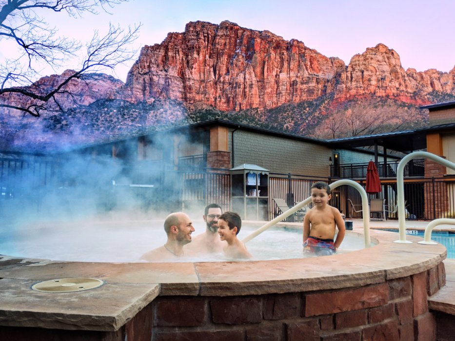Taylor Family in hot tub at Best Western Plus Zion National Park Utah 2