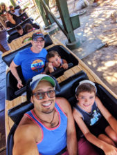 Taylor Family on Kids rollercoaster at Camp Snoopy at Knotts Berry Farm Buena Park California 7