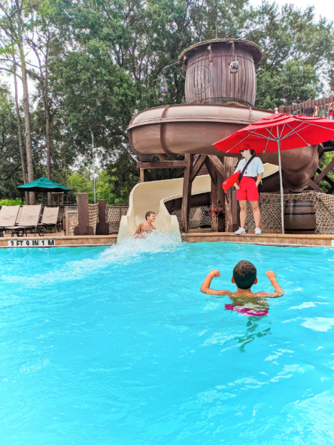 Taylor Family on Waterslide at Meadows Swimming Pool Fort Wilderness Resort and Campground Disney World 1