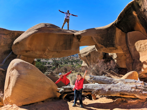Taylor Family on rocks at Devils Garden Grand Staircase Escalante Utah 14