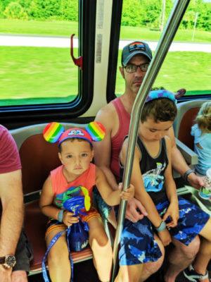 Taylor Family on shuttle to Magic Kingdom Disney World Orlando Florida 1