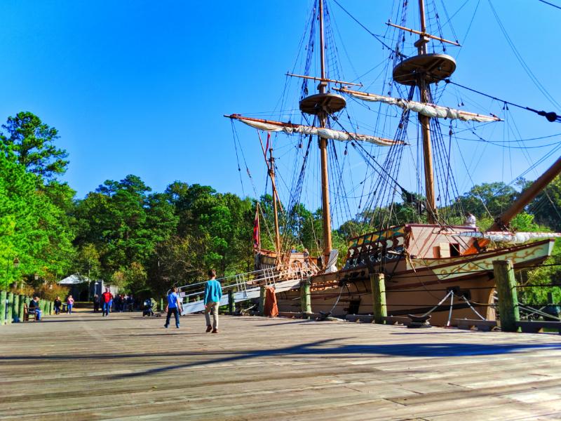 Taylor Family on tall ship at Jamestown Settlement Virginia 7
