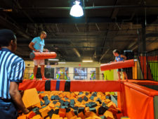 Taylor Family playing gladiator trampoline park at Big Air Buena Park California 3
