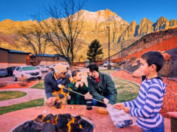 Taylor Family roasting marshmallows at Best Western Plus Zion National Park Utah 1