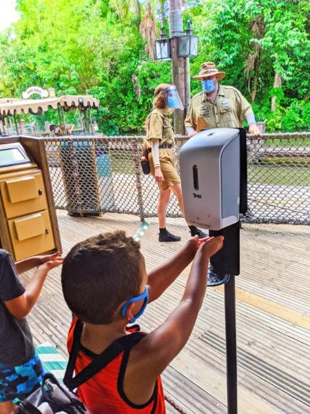 Taylor Family using hand sanitizer on Jungle Cruise Magic Kingdom Disney World 2020 1