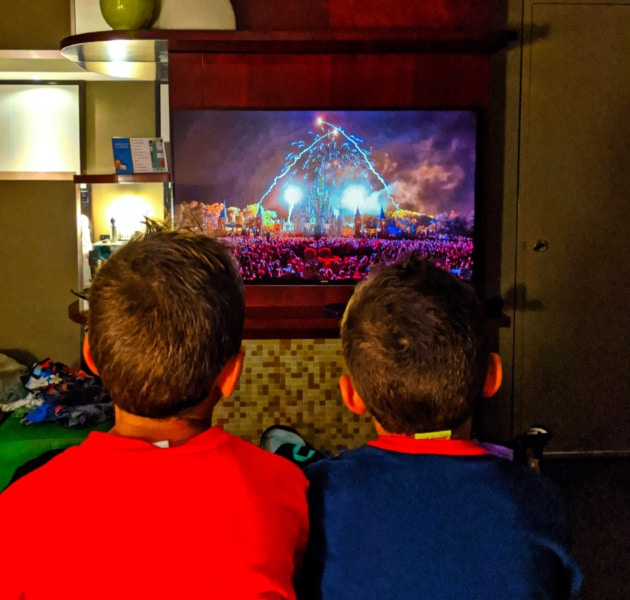 Taylor Family watch televised fireworkds at Disneys Contemporary Resort Disney World 2020 1