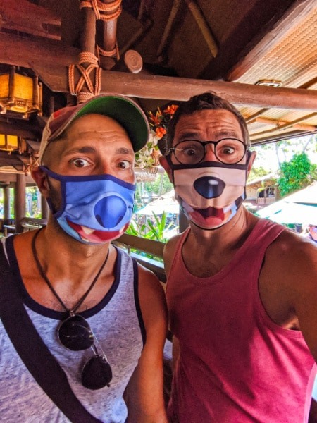 Taylor Family wearing Masks Tiki Room Magic Kingdom Walt Disney World 2