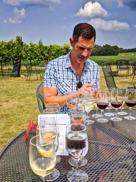 Taylor Family wine tasting outside at Staller Estate Winery Delavan Lake Geneva Wisconsin 1