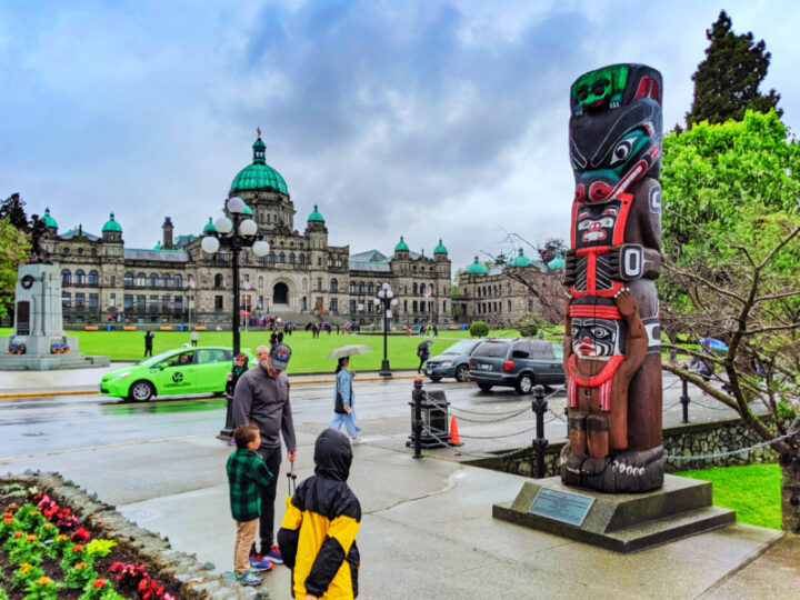 Taylor Family with Bear Totem and Parliament on Inner Harbour Victoria BC 1