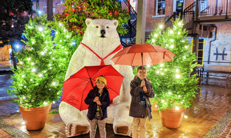 Taylor Family with Christmas decorations Polar Bear Market Square Victoria BC 1