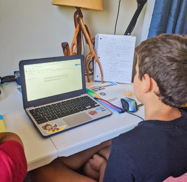 Taylor Family with Chromebook Virtual School Setup 1