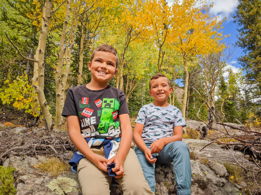 Taylor Family with Fall Colors Hiking at Mohawk Lakes White River National Forest Breckenridge Colorado 2