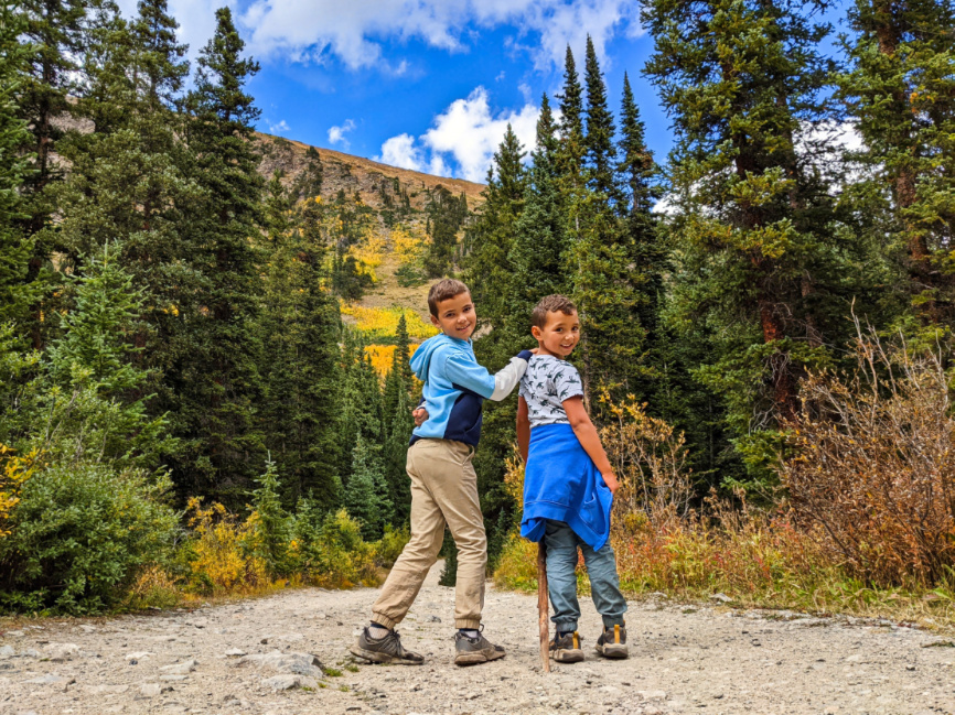 Taylor Family with Fall Colors at Spruce Creek Trail White River National Forest Breckenridge Colorado 5