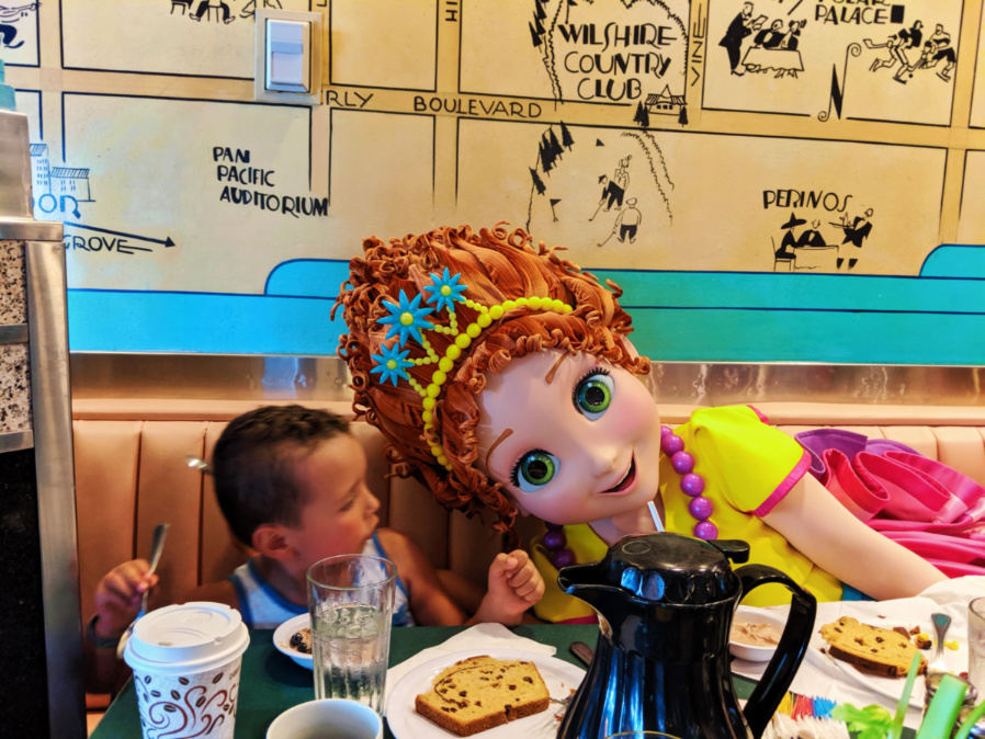 Taylor Family with Fancy Nancy character breakfast Hollywood and Vine Restaurant Hollywood Studios Disney World Florida 1