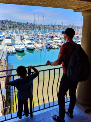 Taylor Family with Marina View from room at Best Western Island Palms Hotel San Diego California 1