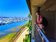 Taylor Family with Marina View from room at Best Western Island Palms Hotel San Diego California 2