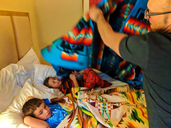 Taylor Family with Pendelton blanket delivery at Inn at the 5th Eugene Oregon 3