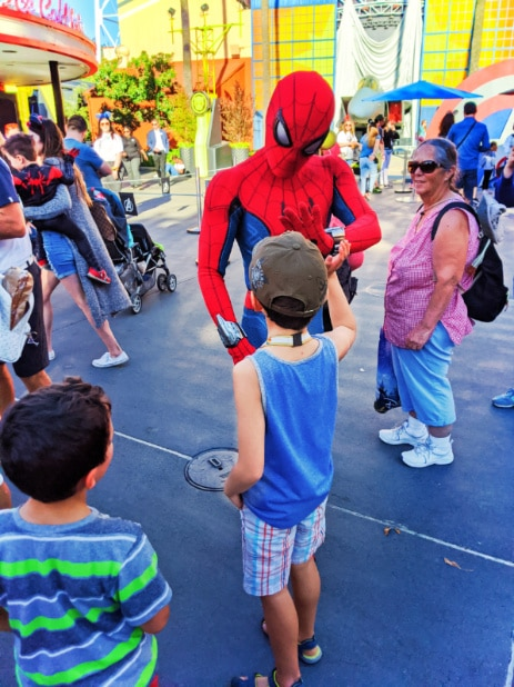 Taylor Family with Spiderman in Hollywood Backlot California Adventure Disneyland 2020 1