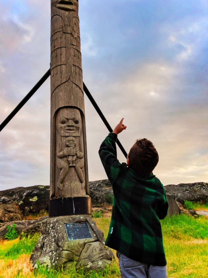 Taylor Family With Totem Poles At Sunset At Delta Ocean