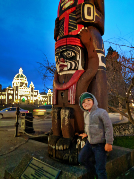 Taylor Family with Totem pole and Parliament Building at Night Inner Harbour Victoria BC 1