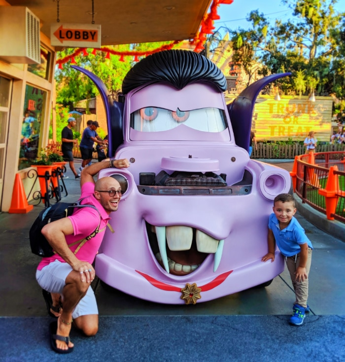 Taylor Family with Vampire Tow Mater in Cars Land California Adventure Disneyland 1