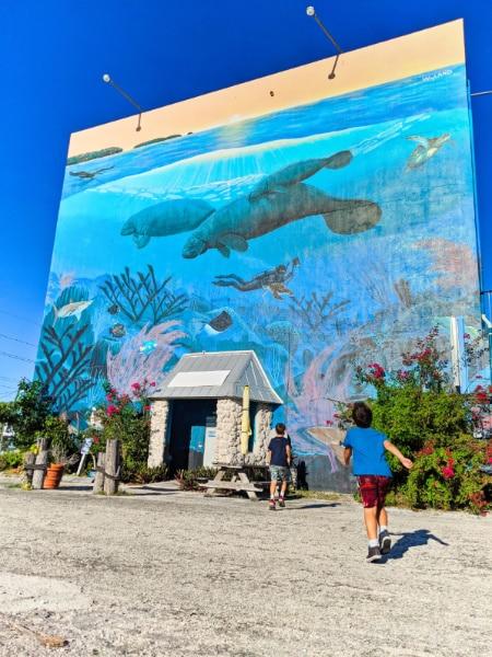 Taylor Family with Wyland Manatee Mural Key Largo Florida Keys 2020 2