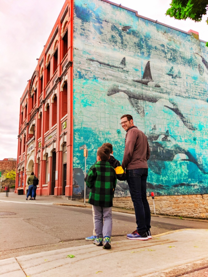 Taylor Family with Wyland Orca Mural Victoria BC 1