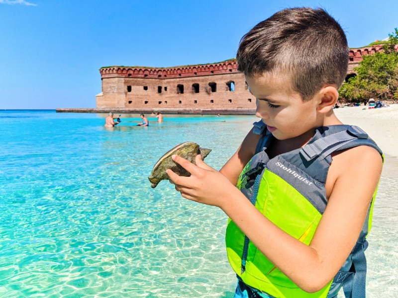 Taylor Family with conch at Beach in Dry Tortugas National Park Key West Florida Keys 2020 2