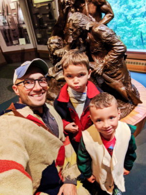 Taylor Family with exhibits at Fort Clatsop at Lewis and Clark National Park Astoria Oregon 3