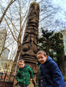 Taylor Kids with Totem Poles in Pioneer Square Downtown Seattle 2