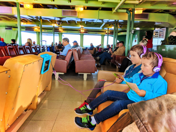 Taylor family in Waiting room on MV Coho Ferry at Port Angeles 2