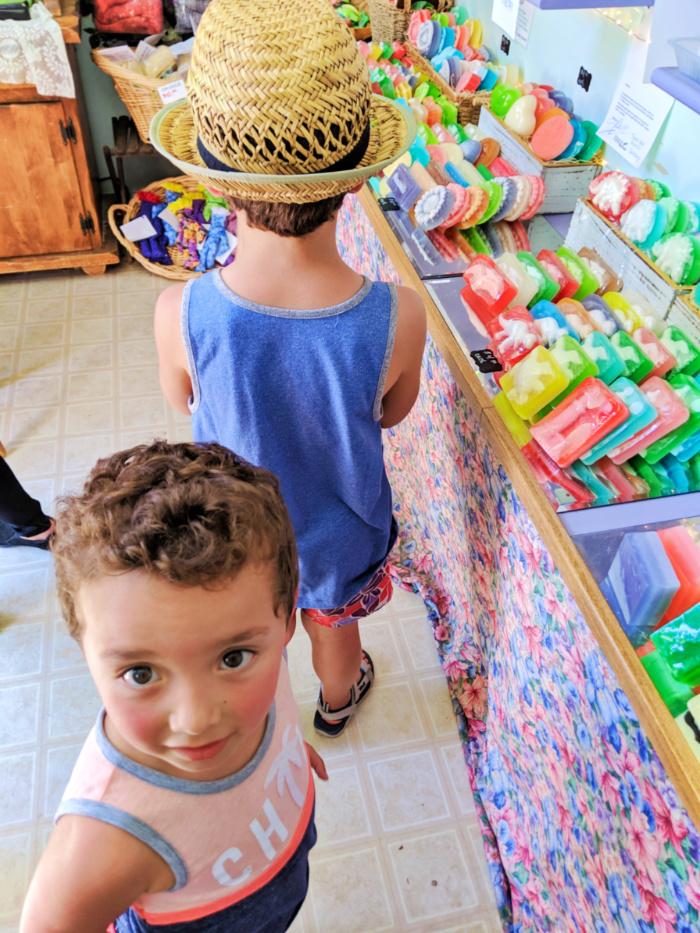 Taylor family in soap shop at Luffa Farm Nipomo Santa Maria Valley California 1
